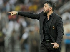 JEDDAH, SAUDI ARABIA - JANUARY 16: Head coach of AC Milan Gennaro Gattuso delivers instructions during the Italian Supercup match between Juventus and AC Milan at King Abdullah Sports City on January 16, 2019 in Jeddah, Saudi Arabia. (Photo by Marco Rosi/Getty Images for Lega Serie A)