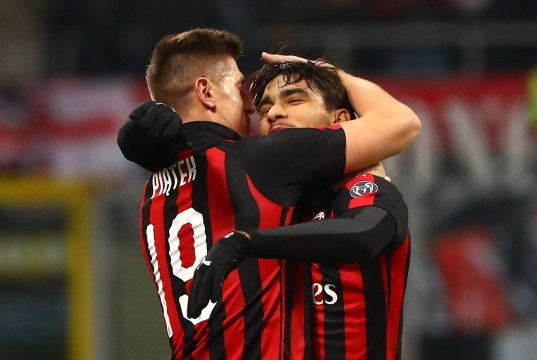 during the Coppa Italia match between AC Milan and SSC Napoli at Stadio Giuseppe Meazza on January 29, 2019 in Milan, Italy.