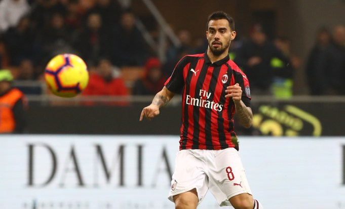 during the Serie A match between AC Milan and Cagliari at Stadio Giuseppe Meazza on February 10, 2019 in Milan, Italy.