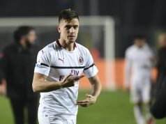 AC Milan's Polish forward Krzysztof Piatek reacts as he leaves the pitch during the Italian Serie A football match Atalanta vs AC Milan on February 16, 2019 at the Atleti Azzurri d'Italia stadium in Bergamo. (Photo by Miguel MEDINA / AFP) (Photo credit should read MIGUEL MEDINA/AFP/Getty Images)
