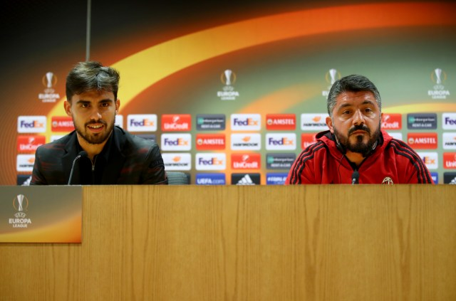 LONDON, ENGLAND - MARCH 14: Suso of AC Milan and Gennaro Gattuso, Head coach of AC Milan speak to the media during the A.C. Milan Press Conference at Emirates Stadium on March 14, 2018 in London, England. (Photo by Julian Finney/Getty Images)