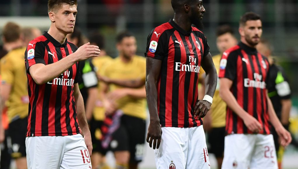 AC Milan's Polish forward Krzysztof Piatek (L) and AC Milan's French midfielder Tiemoue Bakayoko (C) react at the end of the Italian Serie A football march AC Milan vs Udinese on April 2, 2019 at the San Siro stadium in Milan. (Photo by Miguel MEDINA / AFP) (Photo credit should read MIGUEL MEDINA/AFP/Getty Images)