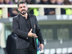 FLORENCE, ITALY - MAY 11: Gennaro Gattuso manager of AC Milan gestures during the Serie A match between ACF Fiorentina and AC Milan at Stadio Artemio Franchi on May 11, 2019 in Florence, Italy. (Photo by Gabriele Maltinti/Getty Images)