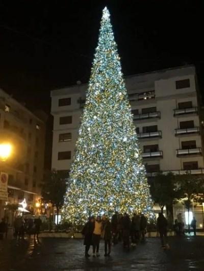 Il gigantesco Albero di Natale posto in Piazza Sedile di Portanova. Quelle davanti, piccoline in basso, ci siamo Rossella, io e Paola