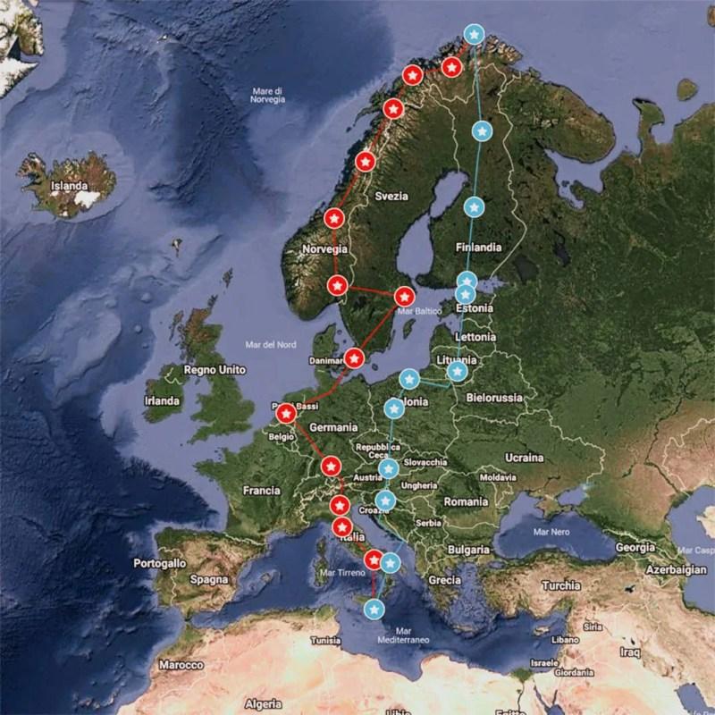 Itinerario da Modica a Capo Nord