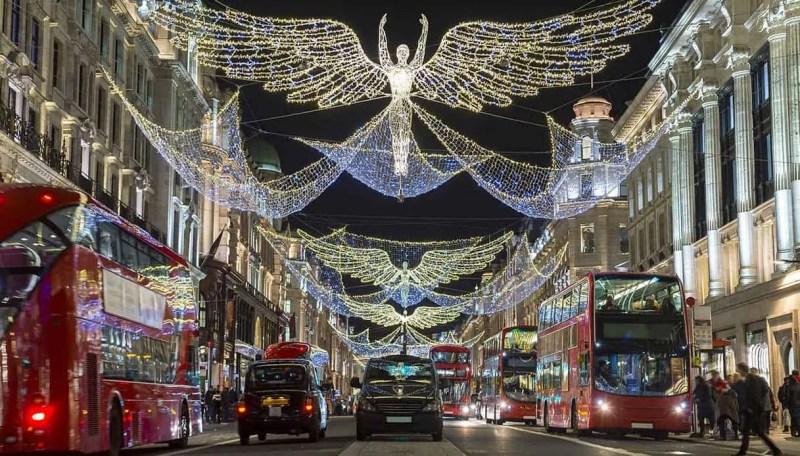 Regent Street e le luci di Natale a Londra