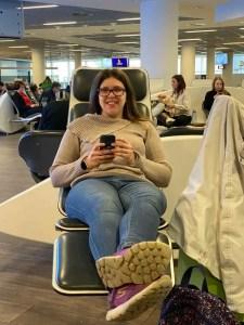 In attesa di partire dall'aeroporto di Francoforte