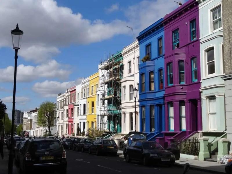 Le case colorate del quartiere di Notting Hill