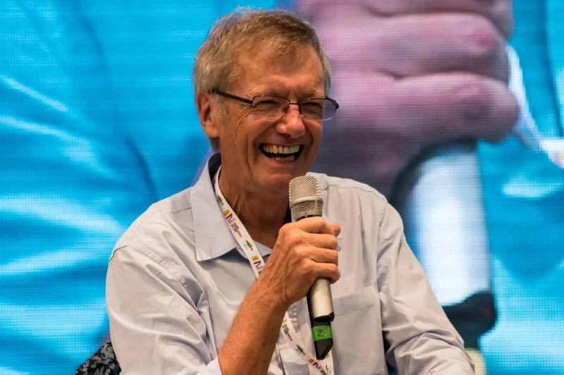 Tony Wheeler all'Ulissefest di Rimini nel 2019