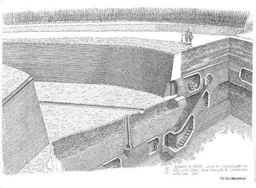 Disegno della disposizione delle gallerie sotterranee di torino
