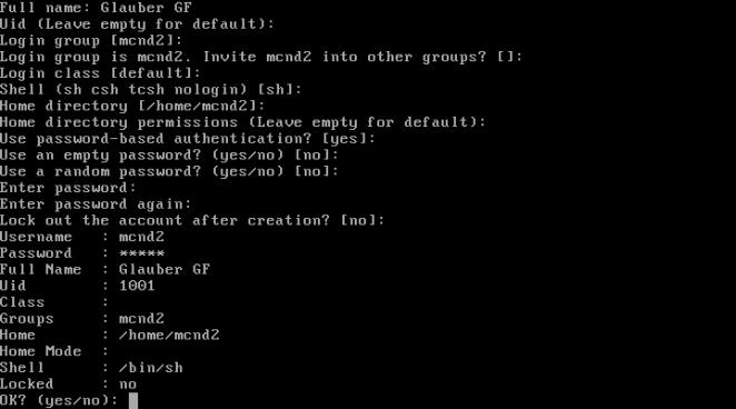 FreeBSD - criando conta de usuário confirmação