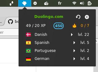 duolingo status para gnome shell