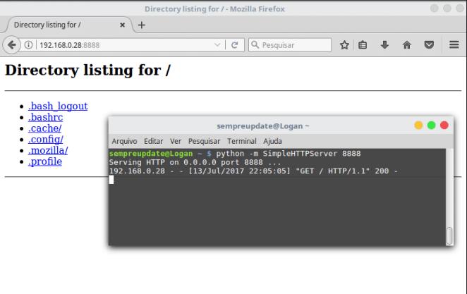 servidor simples HTTP com python usando SimplesHTTPServer
