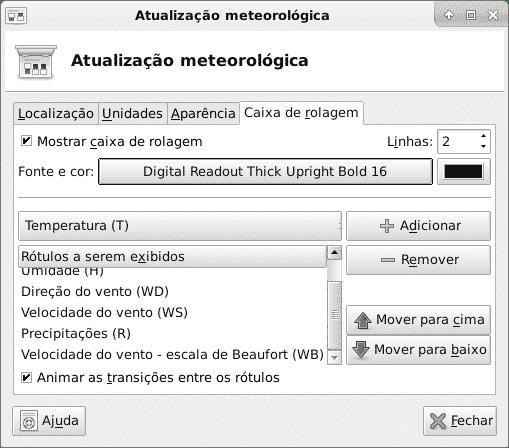 Configuração da atualização meteorológica caixa de rolagem
