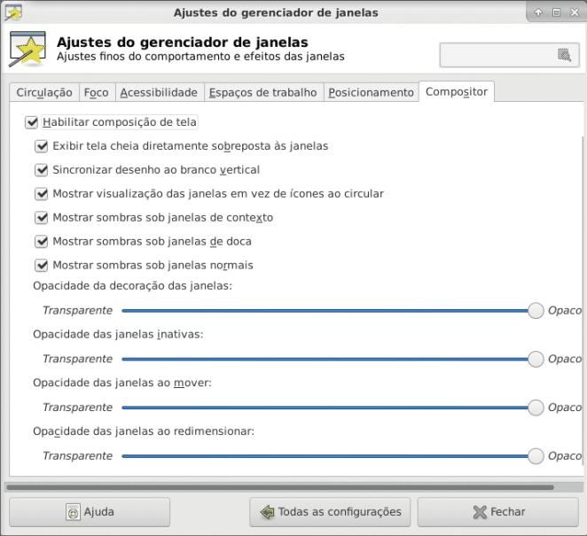 Configurações de ajustes do gerenciador de janelas compositor
