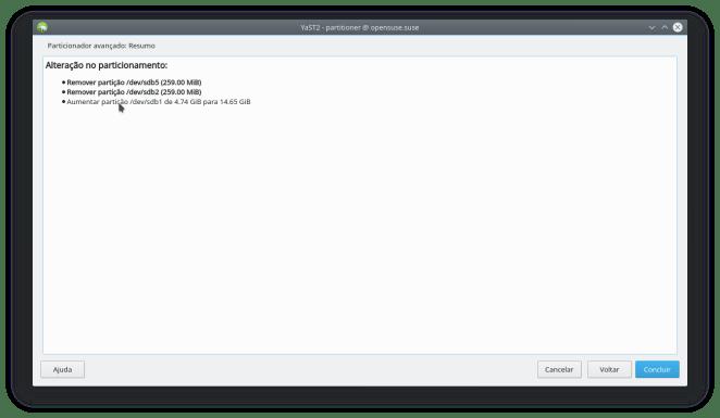 Como redimensionar o tamanho do disco de uma VM do virtualbox - YaST particionador