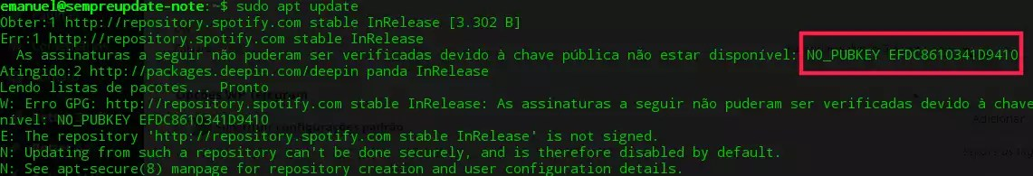 Erro GPG: http://repository.spotify.com stable InRelease
