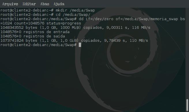 Criar arquivo de memória Swap e ativar no sistema - mkdir, cd e dd