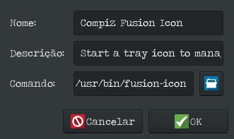 Como instalar o Compiz -Sessão de inicialização adicionar entrada