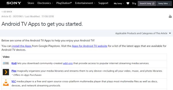 A Sony recomenda que usuários da Android TV instalem os complementos da Kodi