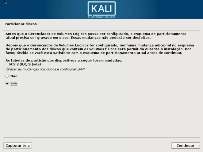 Kali Linux - Gerenciador de Volumes Lógicos