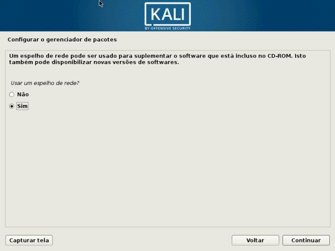 Kali Linux - Configurando gereciador de pacotes (Espelhos)