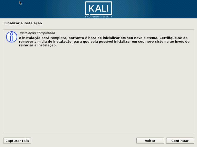 Kali Linux - Instalação Concluída