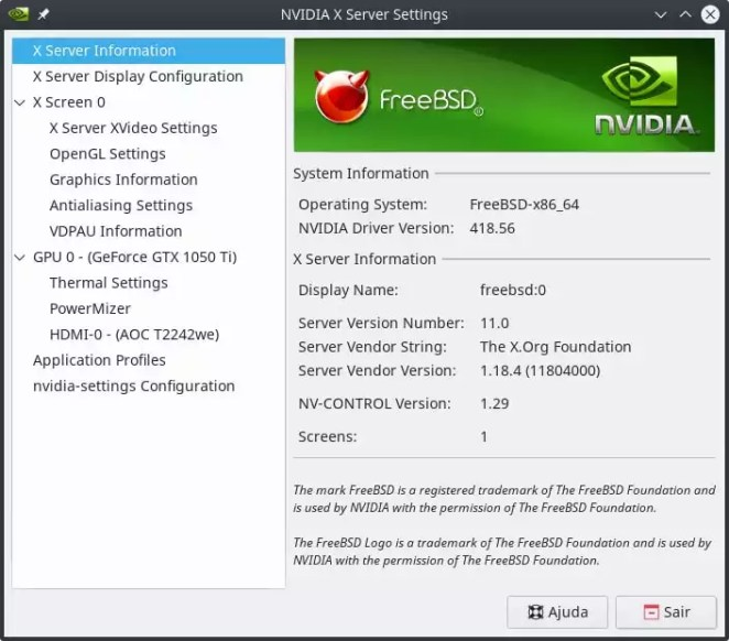 Resolvendo Bug da Nvidia no console do FreeBSD - Nvidia-Settings no KDE com o bug resolvido.