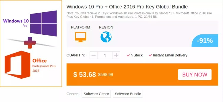 Oferta de software: obtenha a chave do Windows 10 PRO por R$ 43,61, Office2019 Pro R$ 225,89 e Office2016 Pro somente R$ 113,13 no MMORC.COM