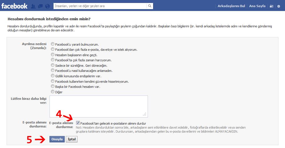 facebook profil dondurma