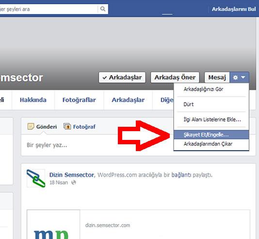 Facebook arkadaş engellemek