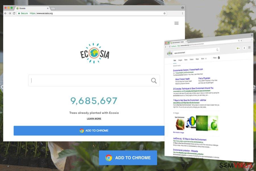 Remover Ecosia.org vírus (Instruções de remoção) - Atualizado Mai 2020