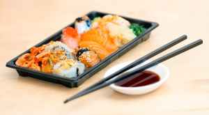 close up photo of sushi served on table