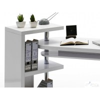 Mattis - white lacquered swivel computer desk - Office ...