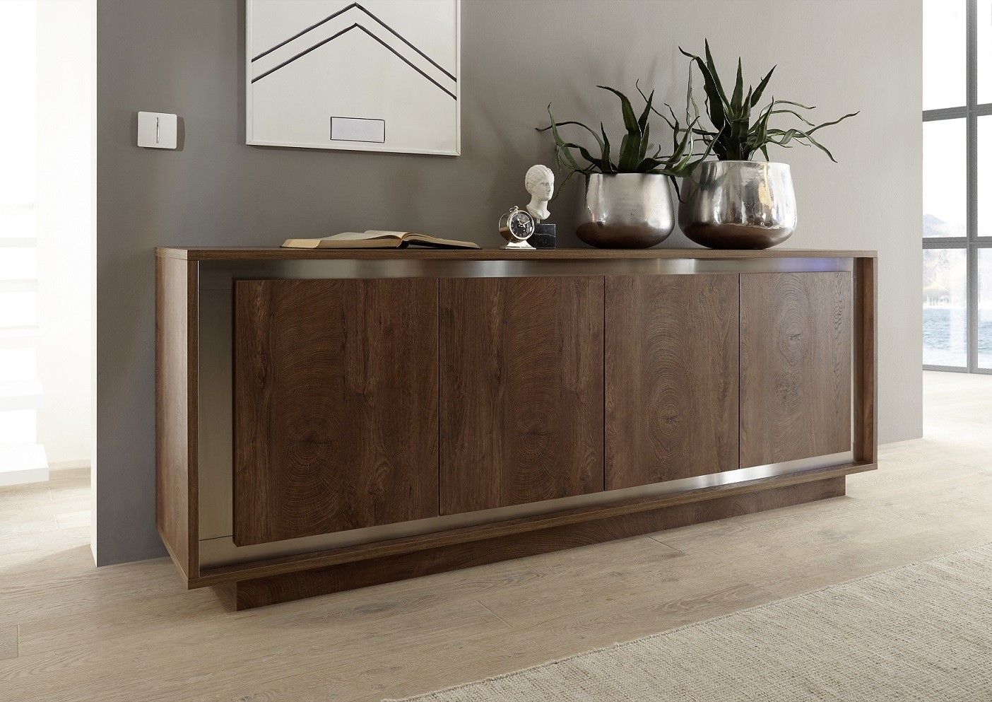 Sideboard Modern Amber Modern Sideboard In Oak Cognac Finish With Inlays - Sideboards (2542) - Sena Home Furniture