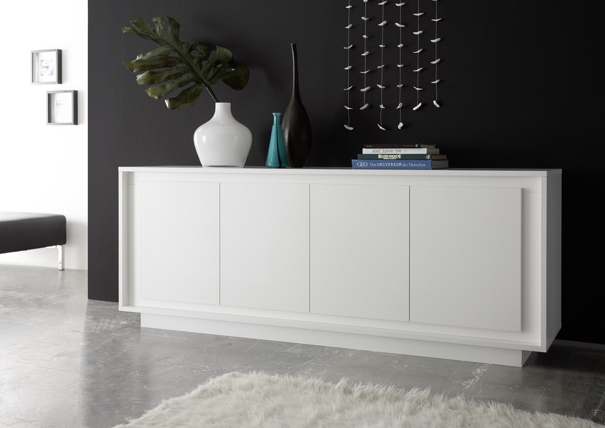 Sideboard Modern Amber Vi White Lacquer Modern Sideboard - Sideboards (2696) - Sena Home Furniture