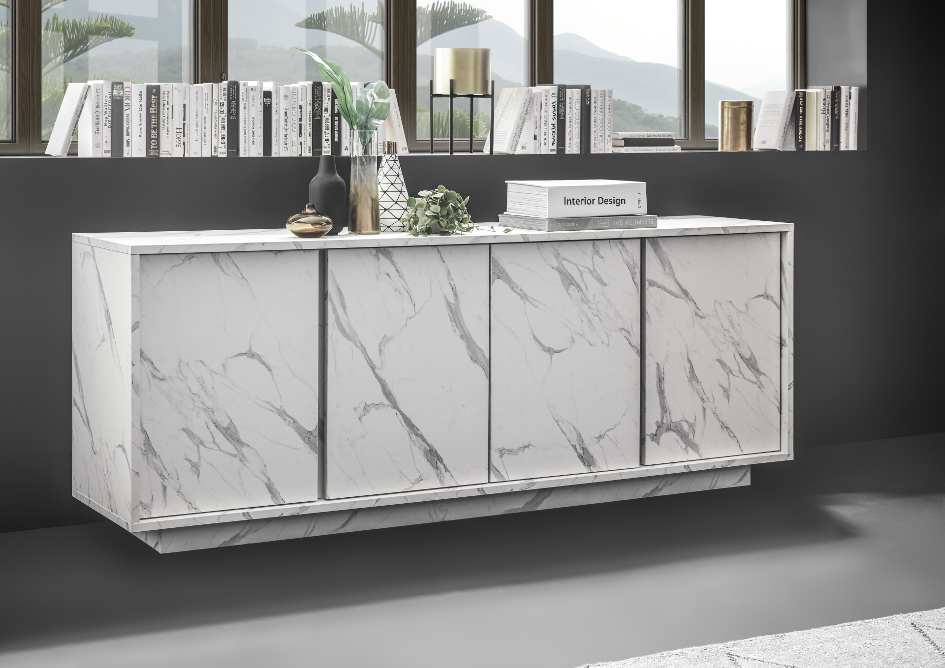 Sideboard Modern Carrara 180cm Modern Sideboard In White Marble Imitation Finish - Sideboards (4500) - Sena Home Furniture