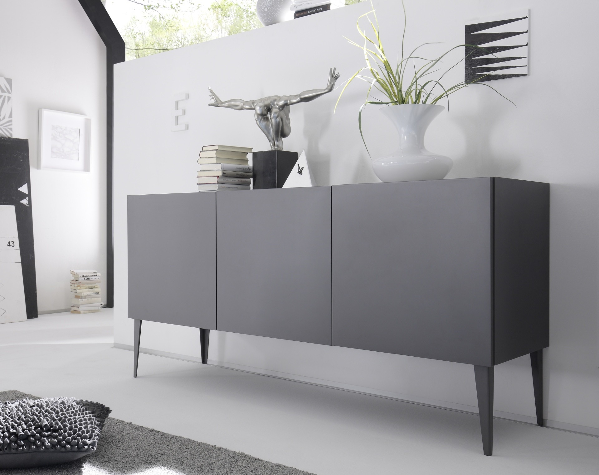 Livia grey or white matt lacquered sideboard  Sideboards