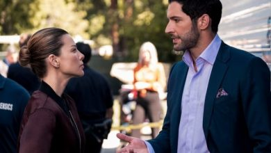 Lauren German como Chloe, Tom Ellis como Lúcifer na 5ª temporada de Lúcifer