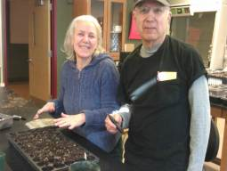Corinne and Daniel Pelzl propagate plants in a workshop funded by the Llewellyn Foundation. Photo by Linda Fuselier.