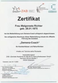 Zertifikat Demenz Coach - Besondere Leistungen Bielefeld