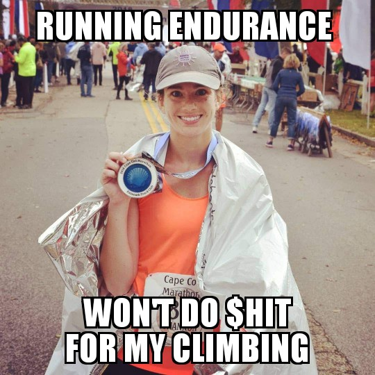 running and climbing meme