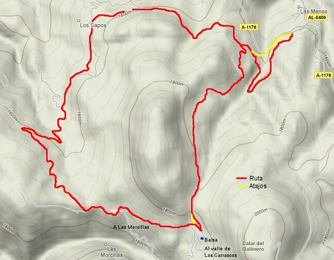 Mapa de la ruta del cerro de La Yedra