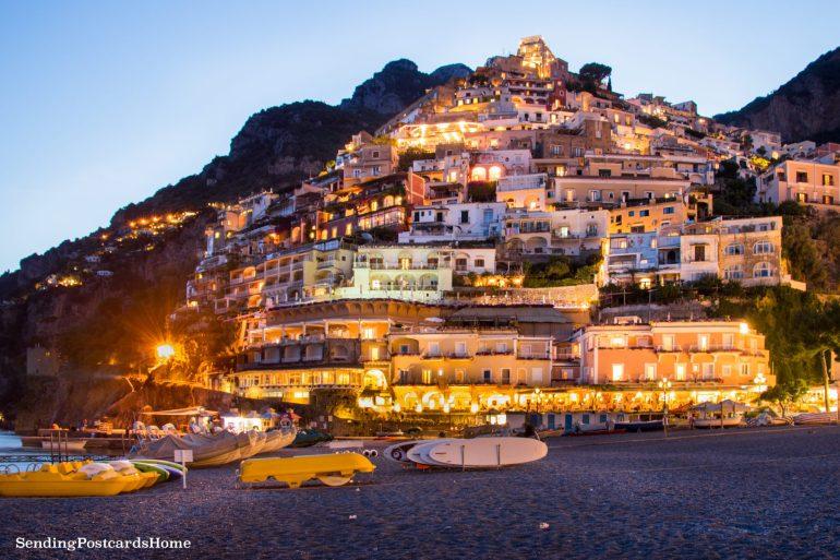 Positano at night, Amalfi Coast, Italy