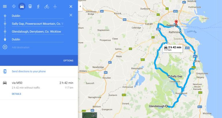 Road trip from Dublin to Wicklow Mountains - Dublin Mountains - Google Map route