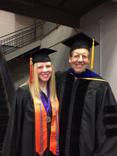 Me and my dad at graduation (he went as a faculty member so we could both be fancy together)