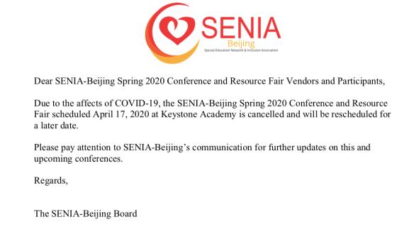 SENIA-Beijing Spring 2020 Notice