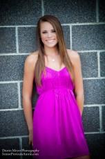 Dirty blonde teen female model senior portraits fushcia dress Long Center for Performing Arts smile