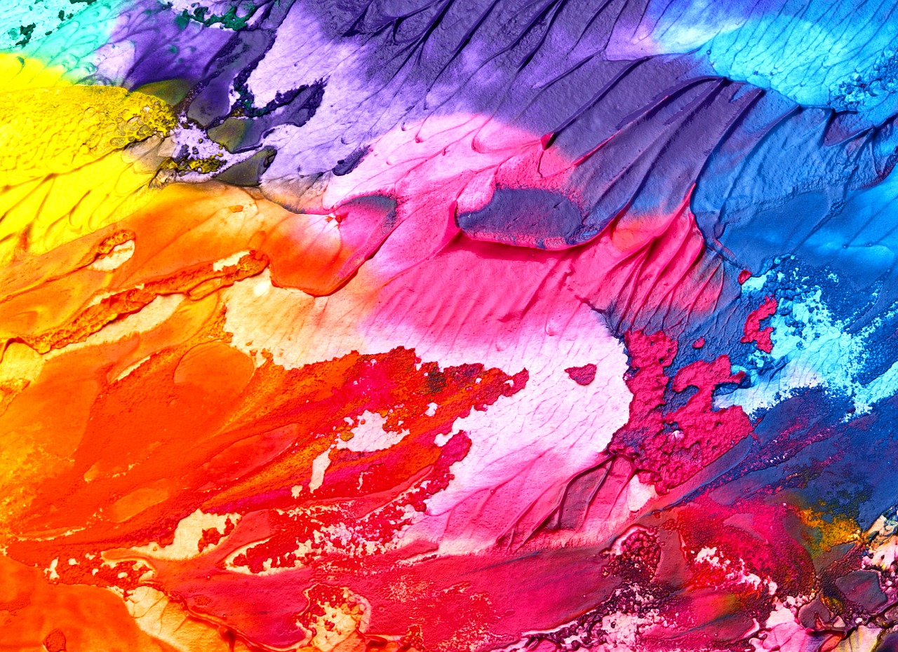 acrylic paints on a canvas