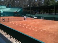 Nora Blom, Tina Karwasky at end of their 3.5 hour match.5 hour match